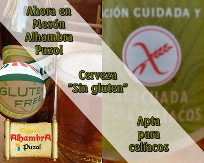 "Cerveza ""sin gluten"" apta para celíacos en Mesón Alhambra Puzol"
