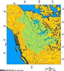 Bacia do Rio Mackenzie, em verde, no Norte do Canadá.