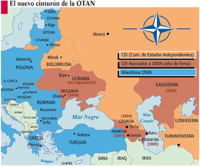 Ucrania, la amenaza rusa y la expansión de la OTAN - un breve comentario de William Blum - publicado por el blog del viejo topo en febrero de 2017 140908-cinturon-otan-alrededor-rusia-690px