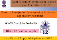 Staff Selection Commission Eastern Region Recruitment 2017– 97 Junior Conservation Assistant, Laboratory Assistant