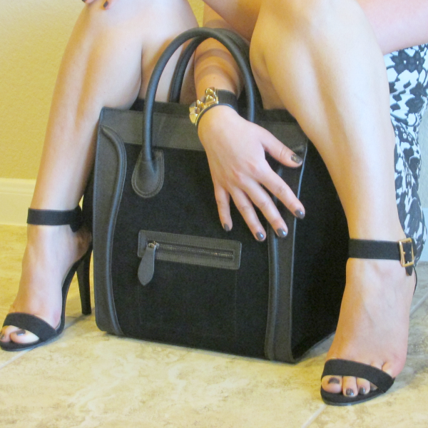 Dimensions BAGINC Vanessa Large Tote Suede Leather Black Bag - REVIEW