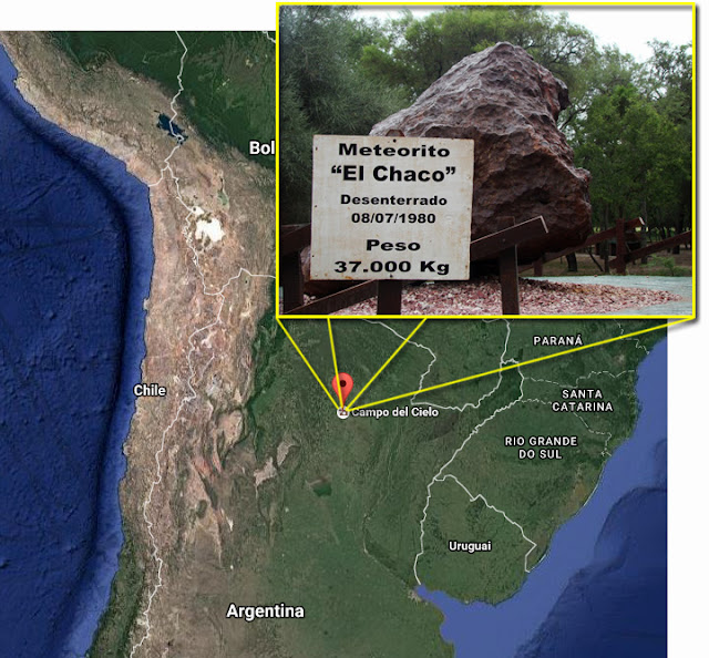 Meteorito El Chaco - Campo del Cielo - Argentina - mapa e meteorito