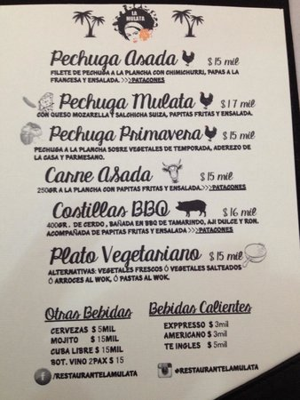 Cardápio restaurante La Mulata - Cartagena