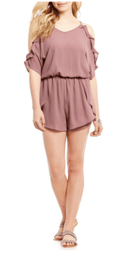 Dillards Moa Moa Cold Shoulder Ruffle Tie-Back Chiffon Romper