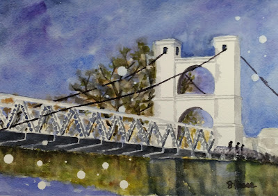 Waco Bridge - Watercolor - JKeese