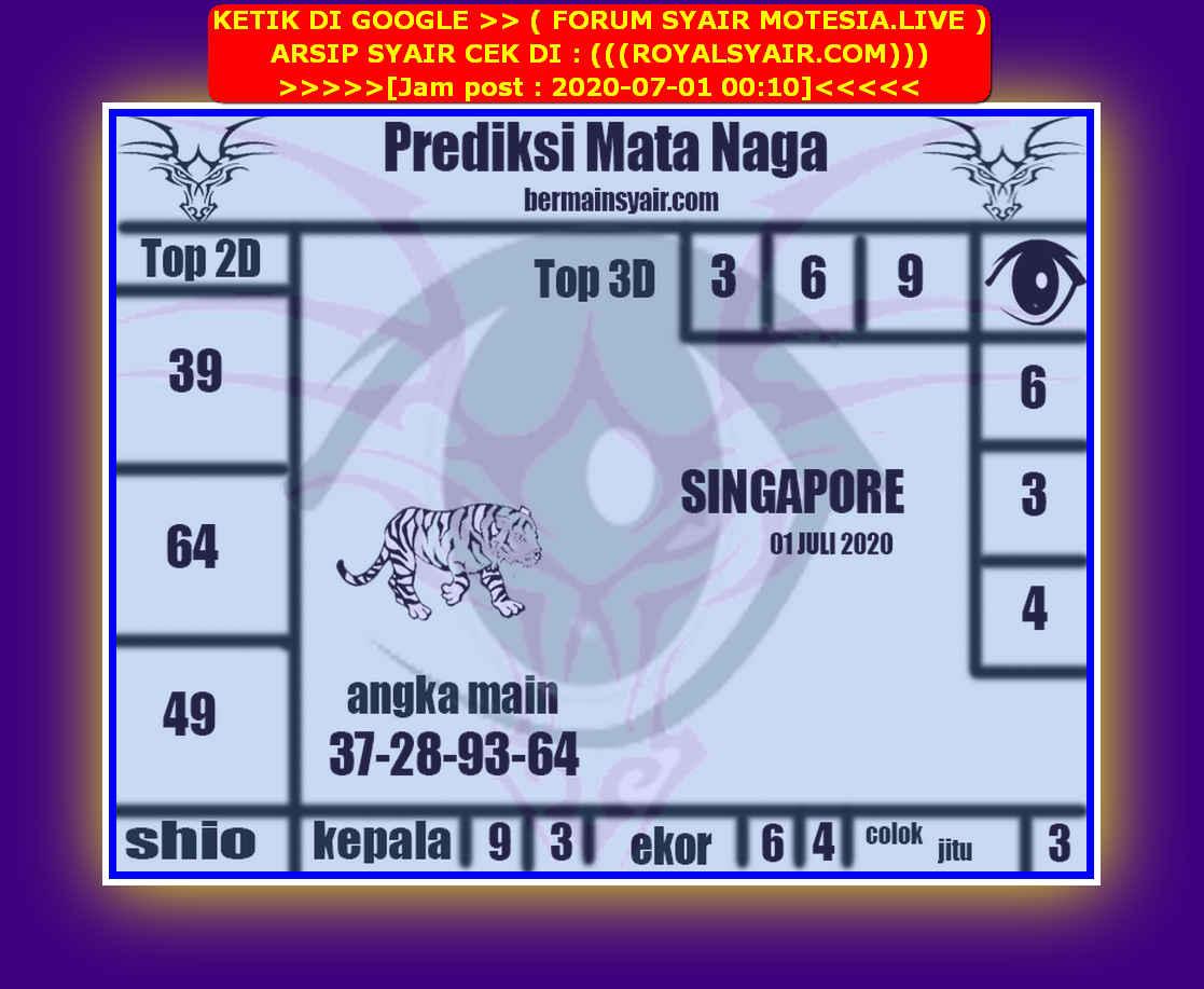 Kode syair Singapore Rabu 1 Juli 2020 201