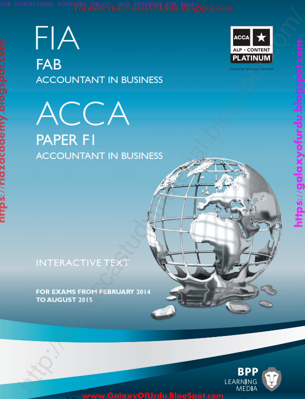 2015-ACCA-F1- ACCOUNTANT IN BUSINESS