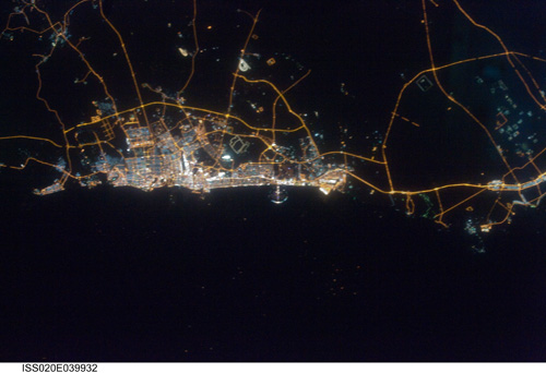 Dubai at Night: View from International Space Station