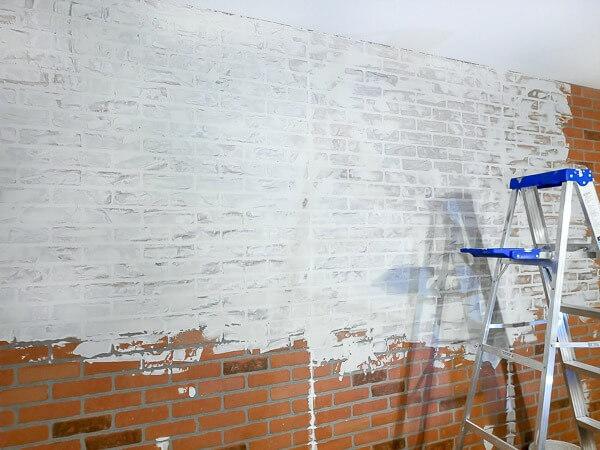 adding German schmear to faux brick wall
