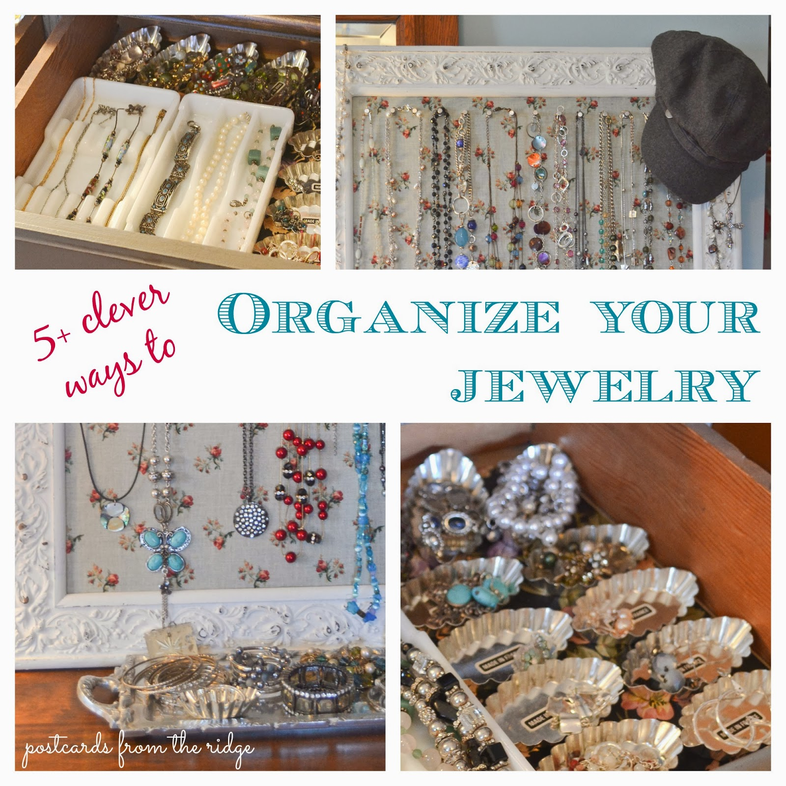 How clever!  Different vintage items repurposed for jewelry organization.  Love it.