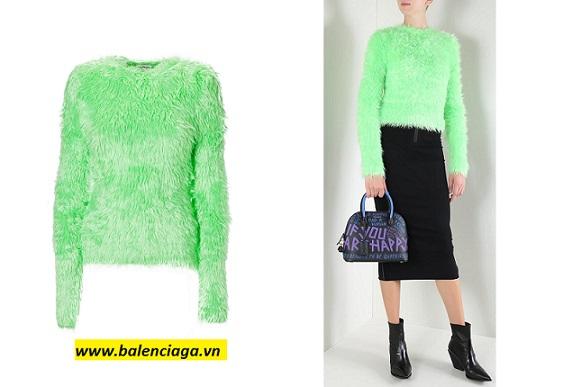 Áo lông Balenciaga faux fur knit pullover