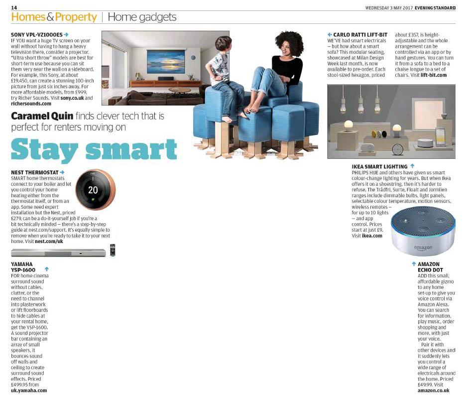 caramel quin writer editor evening standard smart home kit for renters. Black Bedroom Furniture Sets. Home Design Ideas