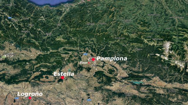 Situación de Estella, Navarra