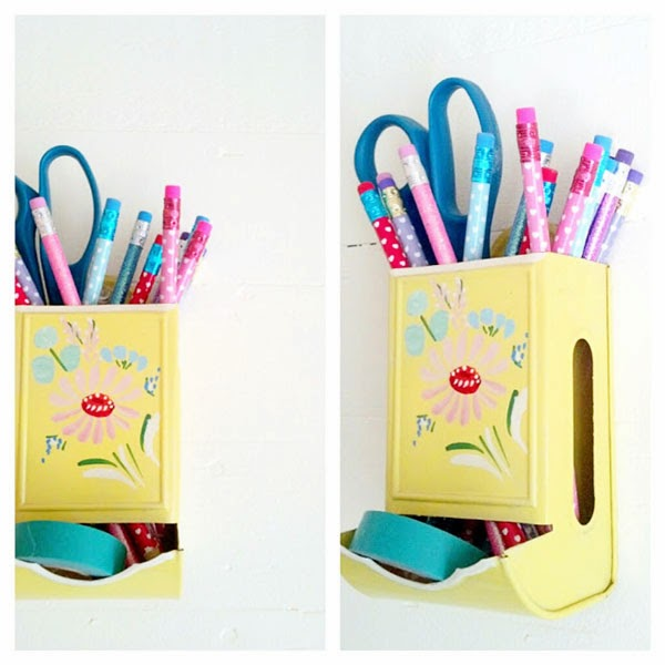 Vintage yellow painted dispenser turned pencil storage