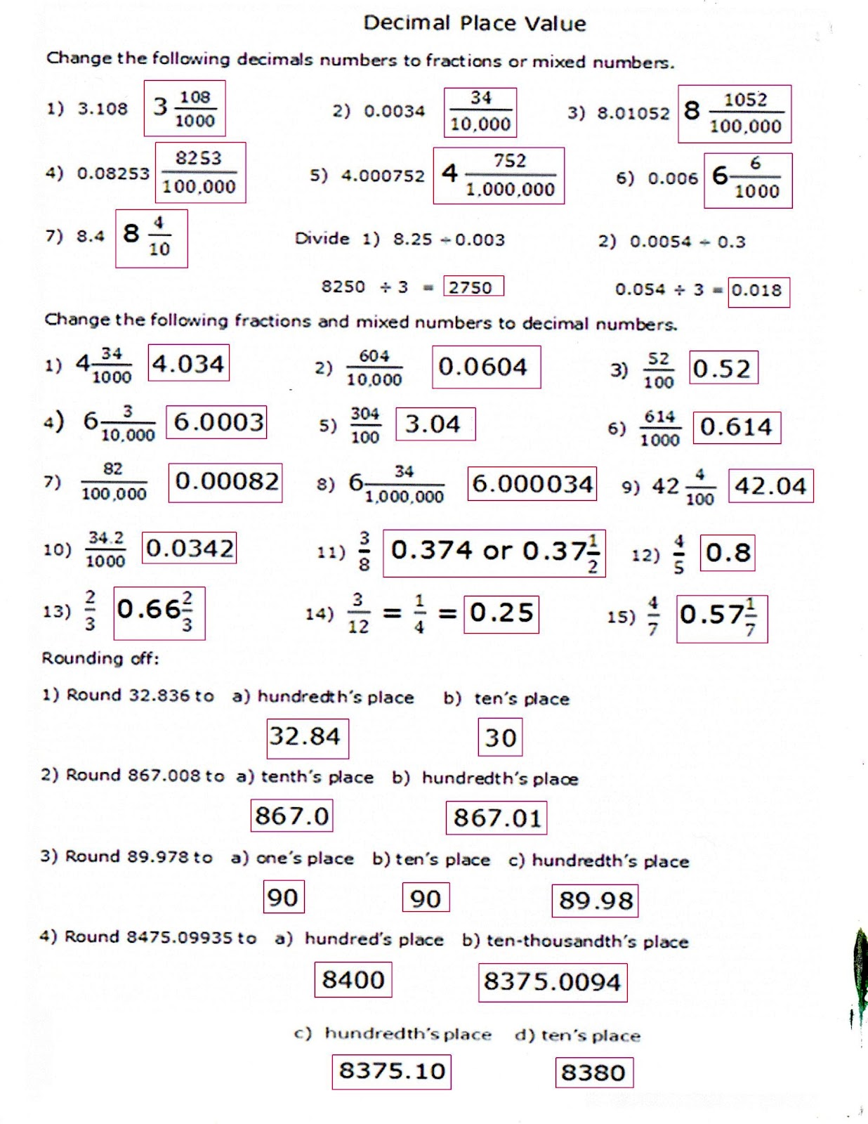 Worksheet Dividing Decimals By 10 And 100