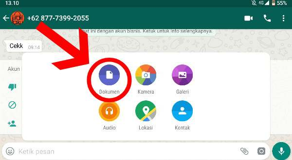 Klik Sub-menu Dokumen Pada Chat WhatsApp