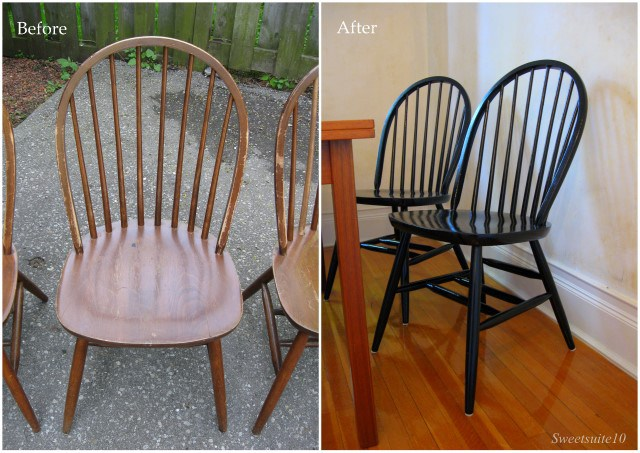 Windsor style dining chair before and after
