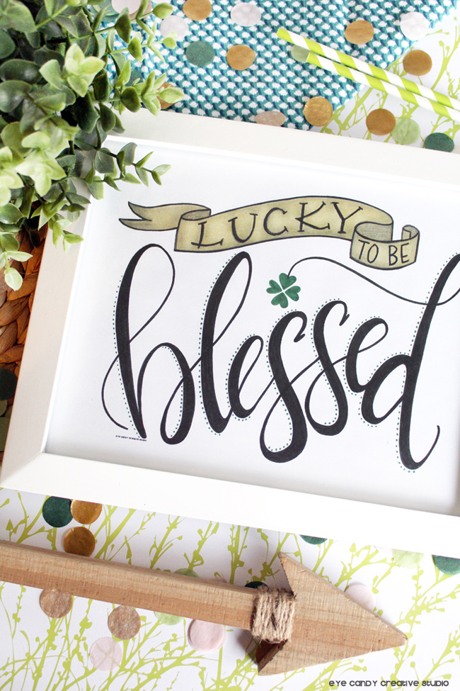 hand lettering, free st pattys day art print, lucky to be blessed, free art print