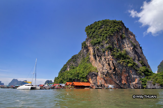 Approaching Koh Panyee in Phang Nga Bay