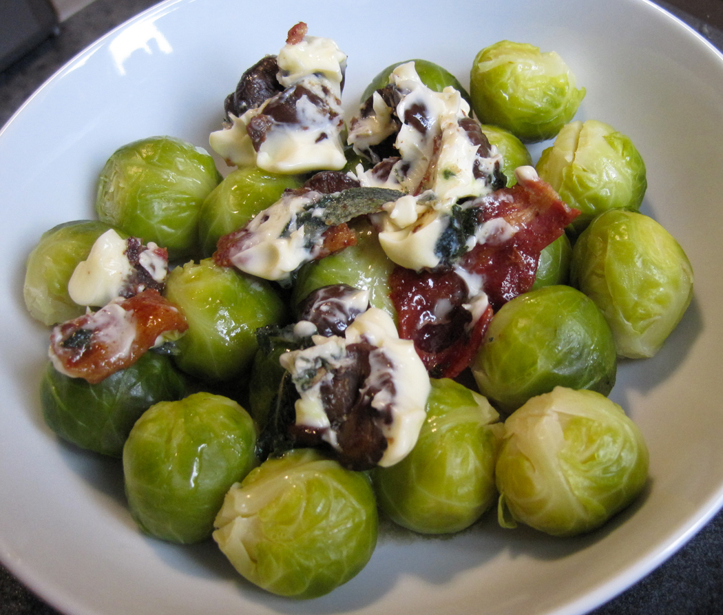Chestnut Bacon and Sage Flavoured Butter on Brussels Sprouts