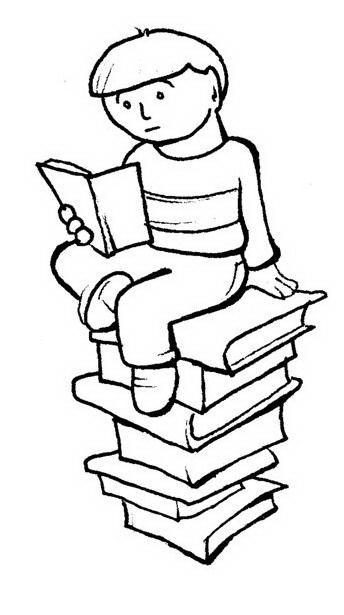 Niño Leyendo Libro Sobre Hilera De Libros Para Colorear