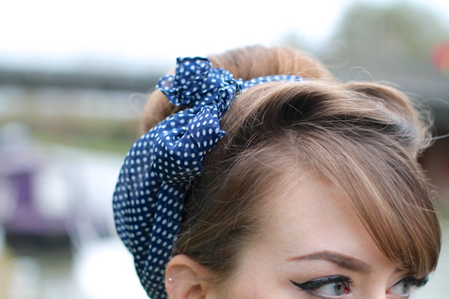 Polka dot headscarf with cute retro updo