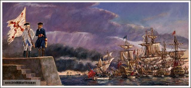Blas de Lezo observa la ruina de la Armada Británica en la laguna de Cartagena de Indias: Foto de JM Vallespín