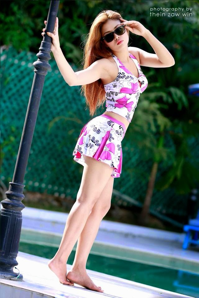 Well-known Ethnic Model, Marina In Floral Swimwear