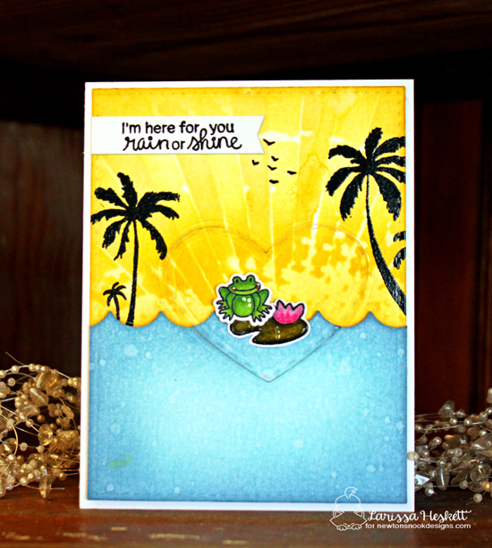 Frog in Tropical Scene Card by Larissa Heskett | Newton's Rainy Day stamp set and die set by Newton's Nook Designs #newtonsnook