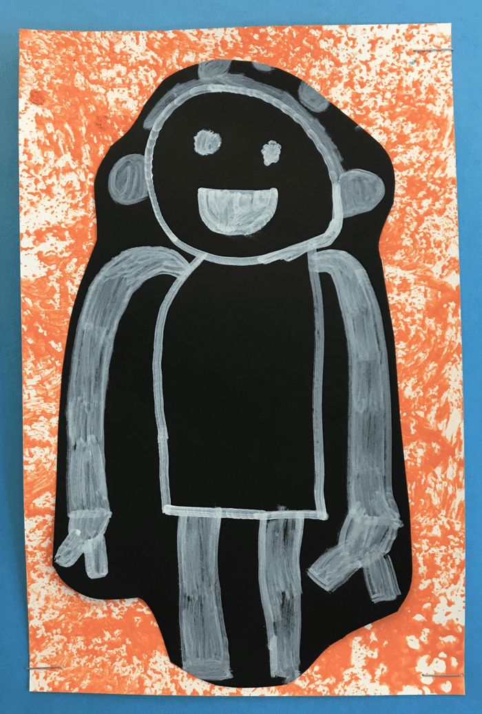Art project for kids. Beautiful and simple self-portraits with white on black drawings, and a colourful sponge-painted background.