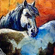 "Mixed Media Equine Painting,Horse Art ""Best of Friends"" by Colorado Mixed Media Artist Carol Nelson"