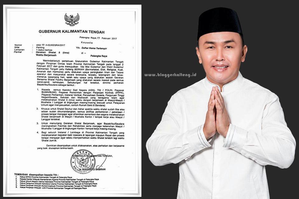 Allahu Akbar! Gubernur Kalteng Keluarkan Surat Edaran Shalat 5 Waktu Berjamaah
