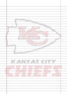 Papel Pautado Kansas City Chief rabiscado PDF para imprimir na folha A4