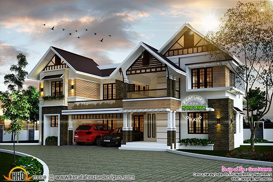 Sloping roof cute home plan in Kerala