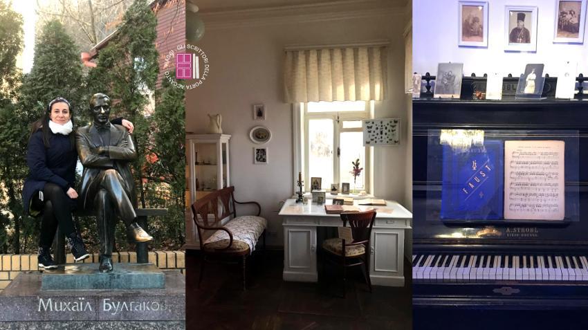 La casa museo di Michail Bulgakov a Kiev: la statua di fronte la casa, lo studio e il pianoforte