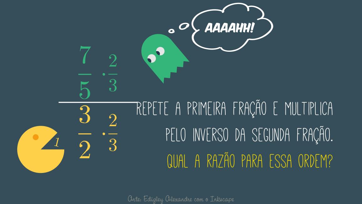 Repete a primeira fração e multiplica pelo inverso da segunda fração. Qual a razão para essa ordem?