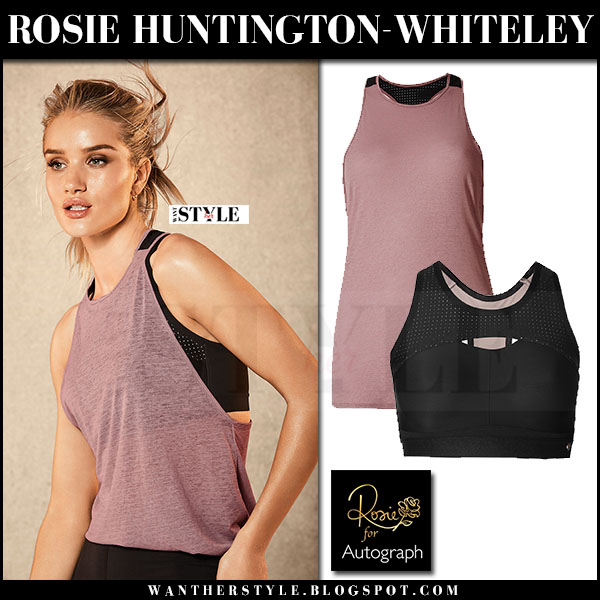 Rosie Huntington-Whiteley in pink vest and black sports bra Rosie for Autograph Active what she wore 2017