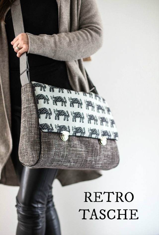 graue selbstgenähte Tasche - Retro Tasche - grau - Möbelstoff