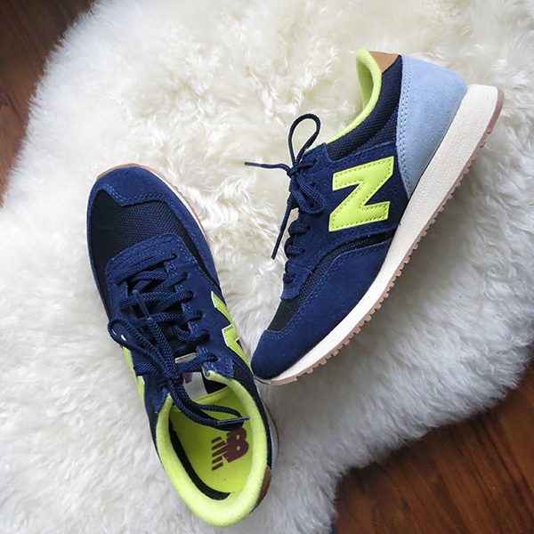 New Balance 620 sneakers in cobalt, baby blue, and neon yellow