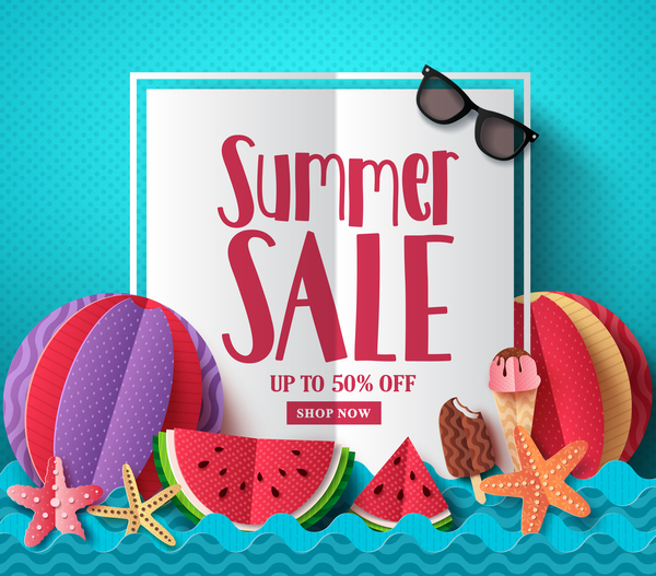 Summer sale shop new background free vector