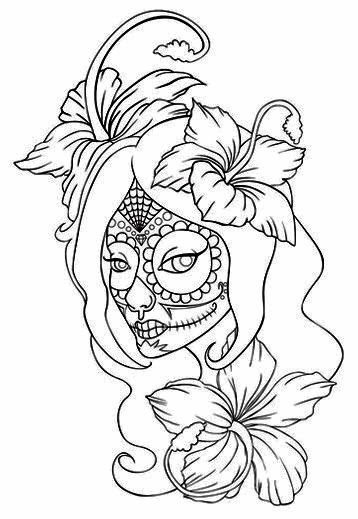 Girl face day of the dead with lilies tattoo stencil