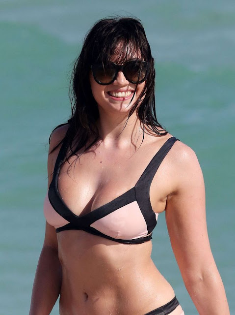 Daisy Lowe in Pale Pink Bikini on Miami Beach