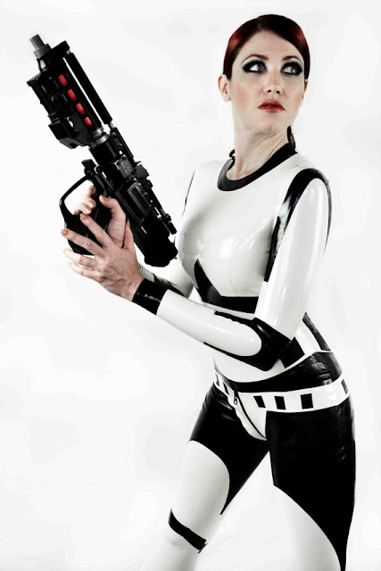 sexy girl dressed as stormtrooper cosplay