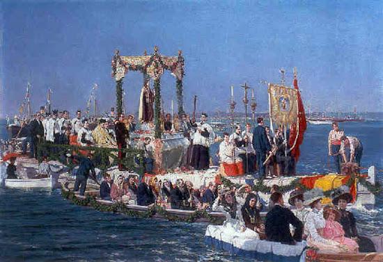 Procesión en Gijón de la Virgen del Carmen, patrona de los marineros, Juan  Martínez Abades, Pintor español, Paisajes de Juan  Martínez Abades, Mar revuelta, Pintores españoles , Pintores Asturianos