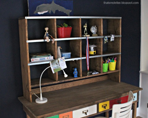 diy desk storage hutch