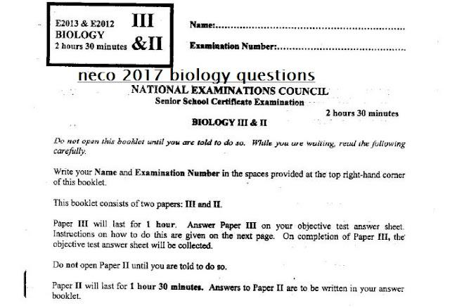 neco-2017-biology-questions