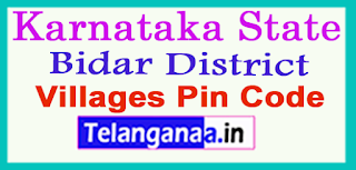 Bidar District Pin Codes in Karnataka State