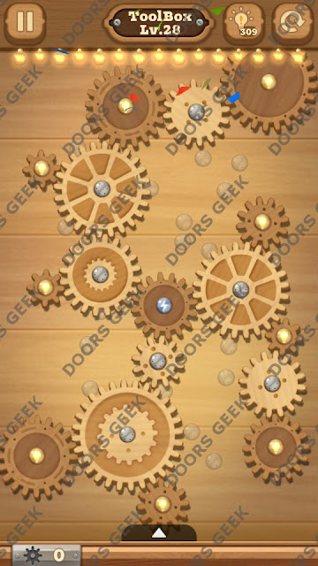 Fix it: Gear Puzzle [ToolBox] Level 28 Solution, Cheats, Walkthrough for Android, iPhone, iPad and iPod