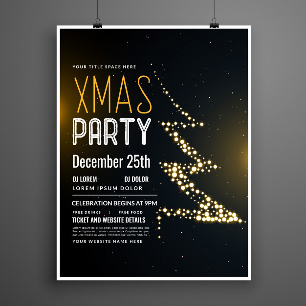 Creative christmas party poster design in black color Free Vector