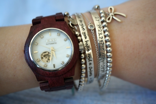 JORD Cora purpleheart and mother of pearl women's wood watch silver bracelet stack | AwayFromTheBlue